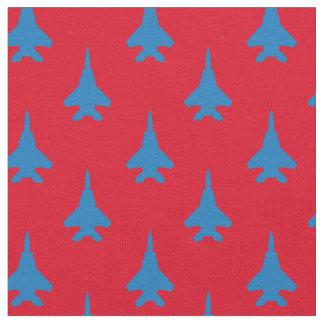 Tissu Bleu sur le motif rouge d'avion de chasse d'Eagle