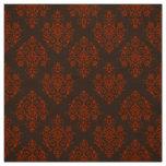 Tissu brun baroque fleuri de motif de damassé