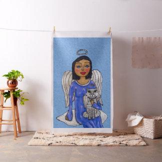 Tissu Chat blanc d'yeux bleus d'ange d'art populaire sur