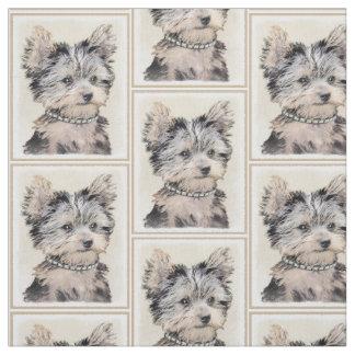 Tissu Chiot de Yorkshire Terrier peignant l'art original