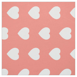 Tissu Coeurs blancs sur le sable rose