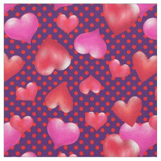 Tissu Coeurs peints audacieux sur le pourpre pointillé |