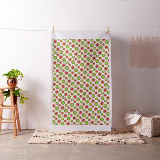 Tissu Coeurs roses et verts de point de polka