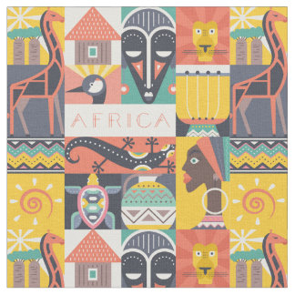 Tissu Collage symbolique africain d'art