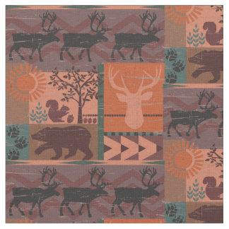 Tissu Copie rustique d'automne de forêt avec des animaux