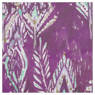 Tissu Copie tribale de plume courageuse de prune