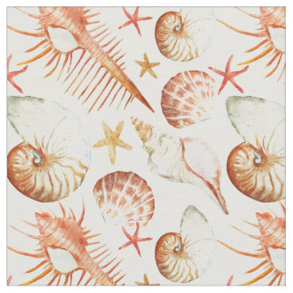 Tissu Corail avec les coquilles et le monogramme du