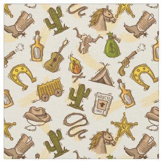 Tissu Cowboy occidental sauvage coloré avec la guitare