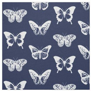 Tissu Croquis de papillon, bleu marine et blanc