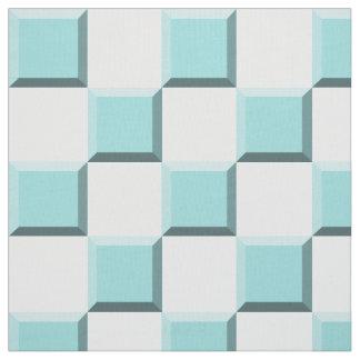 Tissu Damier turquoise d'illusion de bord de Shell de