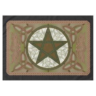 Tissu d'autel avec le pentagone étoilé vert et le nappe