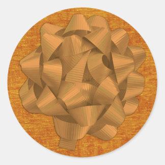 Tissu de Chenille orange et grand arc Sticker Rond