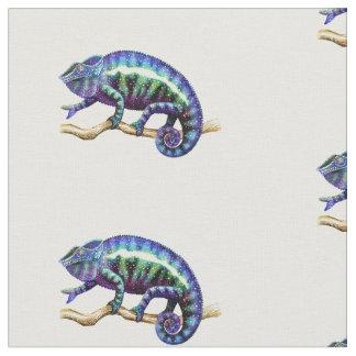 Tissu de coton bleu de caméléon de panthère