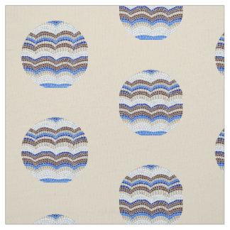 Tissu de coton bleu rond de Pima de mosaïque
