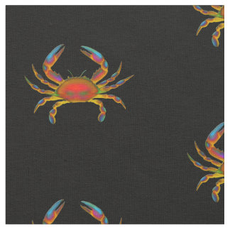 Tissu de coton coloré de crabe d'océan