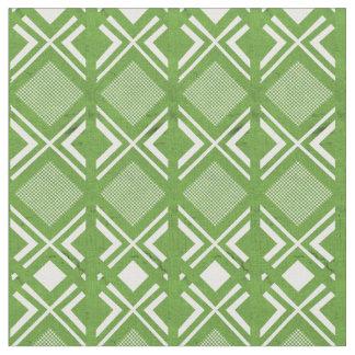 Tissu de coton fané géométrique vert et blanc