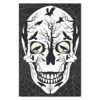 Tissu de crâne et de papier d'emballage de Ravens Papier Mousseline