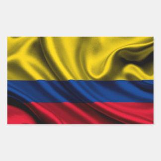 Tissu de drapeau de la Colombie Sticker Rectangulaire