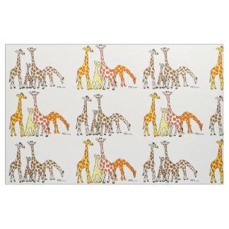 Tissu de famille de girafe