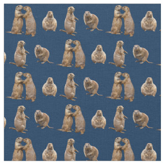 Tissu de frénésie de chien de prairie (marine)