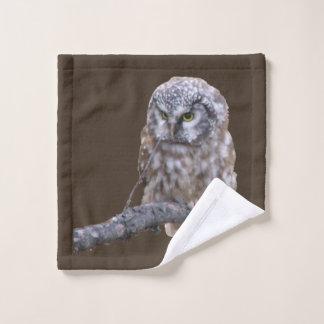 Tissu de lavage avec le hibou