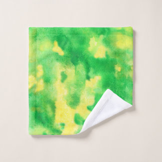 Tissu de lavage d'aquarelle de vert jaune