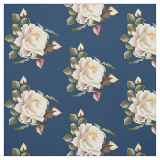 Tissu de motif de rose blanc (bleu marine)