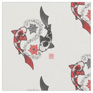 Tissu de motif de Yin Yang de poissons de Koi