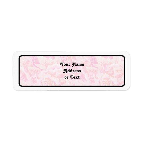 Tissu de rose de rose étiquettes d'adresse retour
