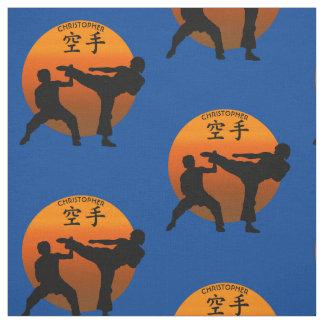 Tissu Deux combattants de karaté avec Soleil Levant
