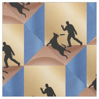 Tissu Disque de vol avec le chien sur Brown et cubes