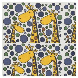 Tissu drôle d'art abstrait de famille de girafe