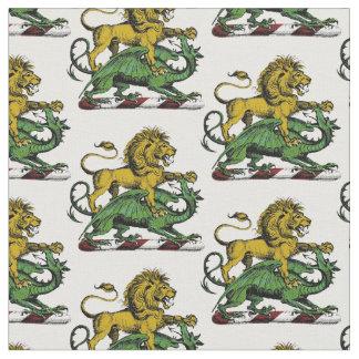 Tissu Emblème héraldique de crête de lion et de dragon
