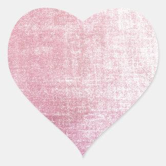 Tissu en soie rustique rose vintage porté autocollants en cœur
