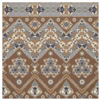 Tissu ethnique bleu et brun de motif