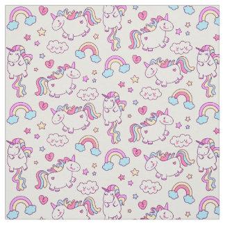 Tissu Étoile et nuage magiques d'arc-en-ciel de licorne