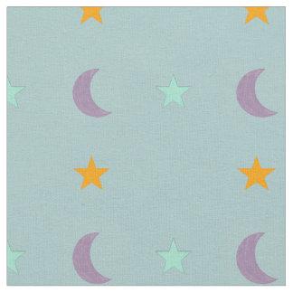 Tissu Étoiles et lune de couleurs claires