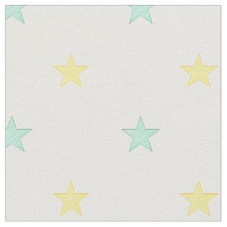 Tissu Étoiles jaune-clair et de turquoise