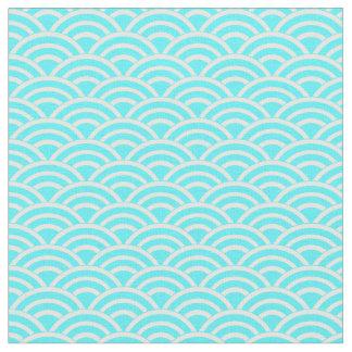 Tissu Fans bleues et blanches