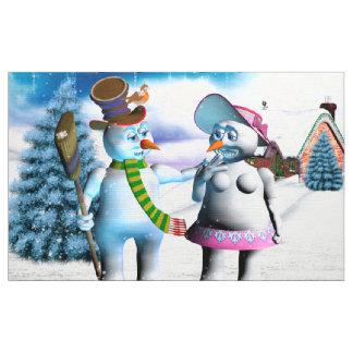Tissu Femmes drôles de bonhomme de neige et de neige