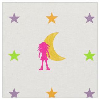 Tissu Fille avec de longs cheveux bouclés et lune et