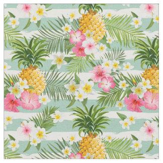 Tissu Fleurs et rayures de Teal d'ananas