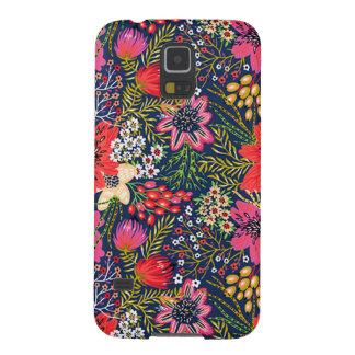 Tissu floral lumineux vintage de motif coque galaxy s5
