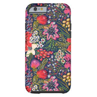 Tissu floral lumineux vintage de motif coque iPhone 6 tough