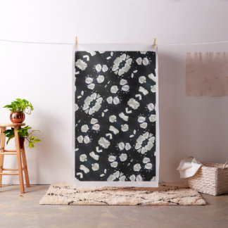 Tissu Floral noir et blanc