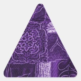 Tissu floral pourpre de patchwork sticker triangulaire