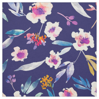 Tissu floral vintage de rose de bleu marine