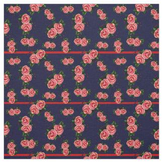 Tissu Frostrosen, fleur rose de gens, bourgeon, marine