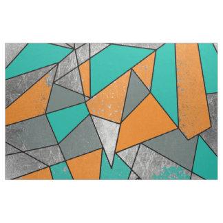 Tissu Géométrique argenté gris turquoise orange rustique