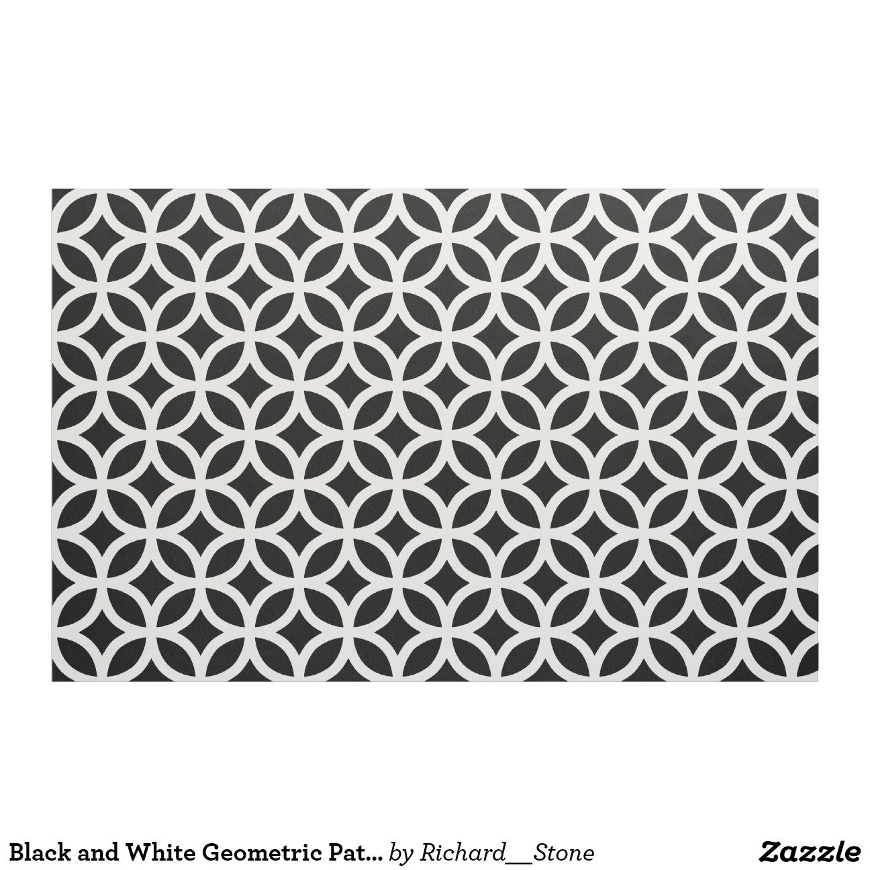 tissu g om trique noir et blanc de motif zazzle. Black Bedroom Furniture Sets. Home Design Ideas